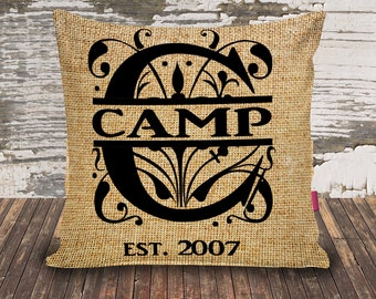 Last Name/Monogram/Est/Faux Burlap/Throw Pillowcase/16x16/custom print/personalized/wedding gift/anniversary gift/mothers day gift/family