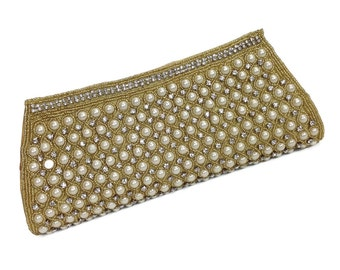 pearl and gold clutch Tarini hand beaded evening clutch, High fashion minadiere , womens jewel embedded beaded formal party clutch