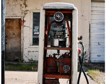 Abandoned Gas Pump on Route 66 — Vintage Filling Station Photograph — Red White and Cream — Rust and Decay — Roadside Americana Photo Art