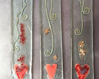 Fused Glass Heart Hanger
