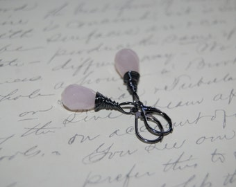 Romantic Pink  Quartzite Stone Artistic  Wire Wrap Earrings.