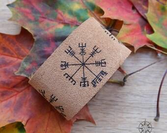 Vegvisir leather bracelet, Nordic Compass rune, leather Viking cuff, men leather bracelet, men Viking jewelry, natural leather men bracer