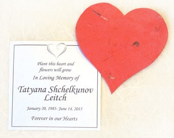 100 Plantable Memorial Cards with Flower Seed Paper Hearts - Custom Funeral Card Gifts