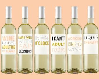 Adulting Wine Label. Girls Night. Bachelorette Party. Wine Label. Custom Wine Labels. Break Up. Funny Wine Labels. Custom Wine Labels.