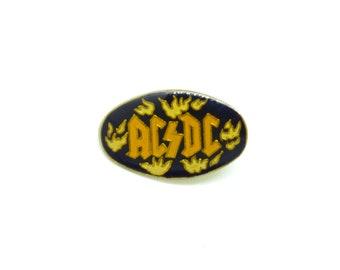 Vintage 80s AC/DC - Oval Enamel Pin / Button / Badge