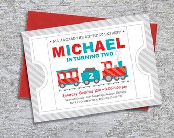 Train Party Invitation – Personalized DIY Printable (Digital File)