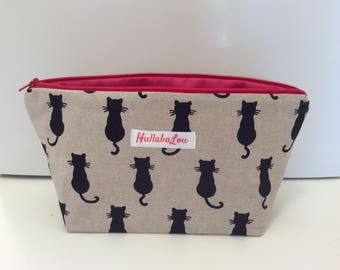 Wash bag, Cat print wash bag, cosmetic bag, shadow cat wash bag, pink zip bag, makeup bag, pencil case, cat bag, kids washbag, cats