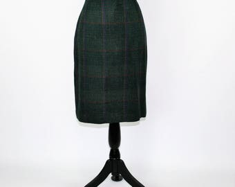 80s Forest Green Plaid Skirt Women Large Pencil Skirt Midi Skirt Vintage Skirts Size 12 Skirt 1980s Vintage Clothing Womens Clothing