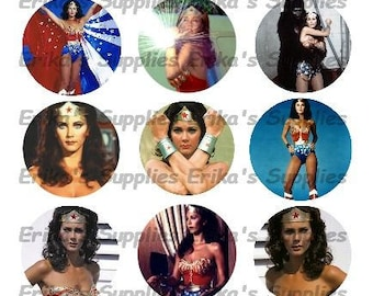 Wonder Woman Diana Prince Lynda Carter 1 inch Digital Image Images for Jewelry Stickers Bottle Cap Images Digital Download  4 x 6