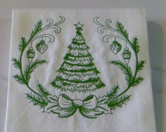 Christmas Tree Laurel Tea Towel Kitchen Towel Dish Towel Ornaments