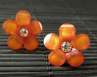 Dark Orange Flower Earrings. Rhinestone Daisy Flower Earrings on Bronze Post Earrings. Handmade Jewelry.