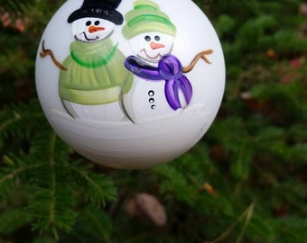 Personalized Snowman Couple Christmas Ornament Handpainted Gift