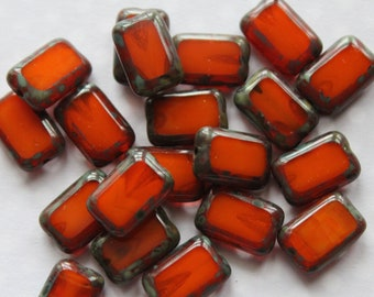 12 mm Rust, Orange , Milky, Picasso Polished Rectangle Beads