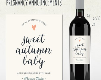 Custom Wine Label - Pregnancy Announcement! (Personalized) SWEET AUTUMN BABY