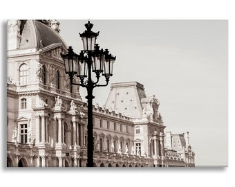 Paris Photography on Canvas - The Louvre, B and W Sepia,  Gallery Wrapped Canvas, Large Wall Art, Neutral Architectural Urban Home Decor