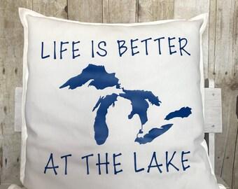 Michigan pillow- Michigan- great lakes- Michigan gift- Michigan pillows- Life is better at the lake- lake pillow- Michigan great lakes