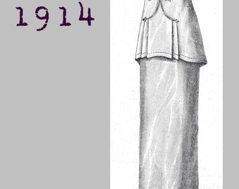 Hobble Skirt  -  Vintage Reproduction PDF Pattern - 1910's - made from original 1914 La Mode Illustree Pattern