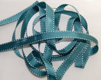 3/4 inch Blue Green Saddle Stitch Grosgrain Ribbon- Trim - 5 yards, Hairbows, Scrapbooking, Cards (SS 9)