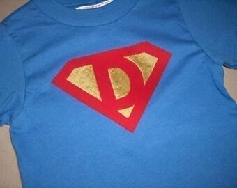 Infant/Toddler Boys Custom Initial Superman Superhero Shirt 12m 18m 24m 2T 3T 4T 5T