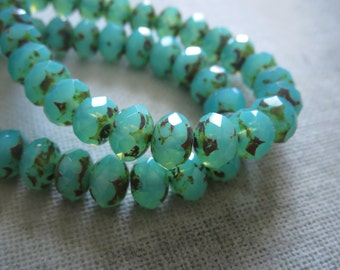 green turquoise Czech beads,  brown Picasso czech bead, faceted rondelle glass bead, opaque opalite blue - green 6 x 8mm / 12 beads  5CZ638