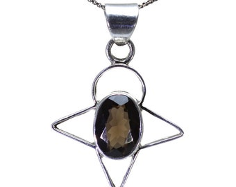Smoky Quartz Pendant, 925 Sterling Silver, Unique only 1 piece available! color brown, weight 5.8g, #26195