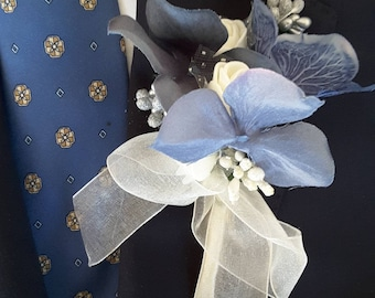 Dusty blue boutonniere,  Dusty blue wedding,  Dusty blue and ivory boutonniere