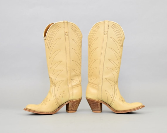 Leather 6 Boots 5 70's Western US qApCwxFd
