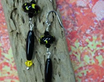 Goddess Moon LONG Earrings - handmade Lampwork BORO glass - crescent black yellow