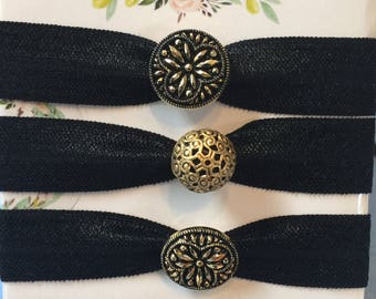 Black and Gold Embellished Creaseless Hair Ties