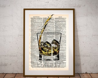 Whiskey pour, whiskey splash, pour me a whiskey art print