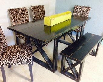 High Quality 6 Foot Black Distressed Dining Table, Includes One 4 Foot Bench. You Can  Also
