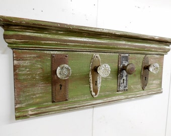 Architectural Salvage Coat Rack, Rustic Coat Rack, Antique Glass Door Knob  Coat Rack,