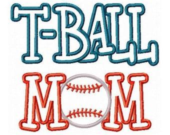 Instant Download T Ball Mom Embroidery Machine Applique Design- 906