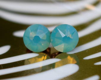 Swarovski Pacific Opal crystal earrings on titanium posts~ titanium stud earrings, great for sensitive ears! SS34