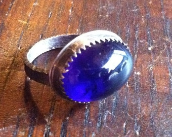 Sterling Silver and Amethyst Cabochon Ring