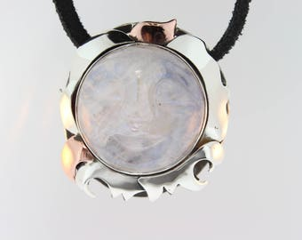 Carved Moonstone Face pendant