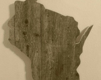 Reclaimed Wisconsin Wood sign, Rustic Home Decor, Wood home decor, Wood Wisconsin Sign, Repurposed wood sign, Wisconsin Home Decor, Sign