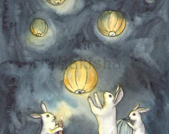 Woodland Art Decor - Lighting the Sky Lanterns - Fine Art Rabbit Print