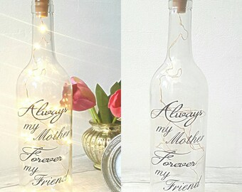 wine light bottle, mother light bottle, fairy lights bottle, mother quote, mothers day gift, gift for mum, wine bottle, message on a bottle