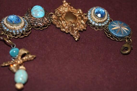 BRACELET Victorian Beauty Earring CAMEO, cluster bracelet, vintage cluster earrings, bridesmaid, vintage Gold earrings, jewelry, pearl