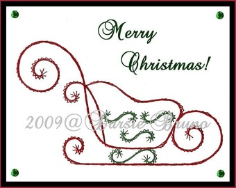 Santa's Sleigh Christmas Paper Embroidery Pattern for Greeting Cards