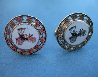 Vintage Bullet Back Horseless Carriage in White Enamel Gold Plated Cufflinks