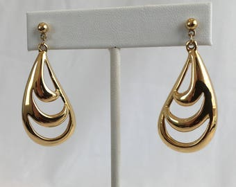 Napier Dangle Triple Swoop Gold Tone Pierced Vintage Earrings (Marked Right and Left on Back)