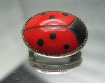Vintage Ladybug/Beetle Brooch Bloodstone and Onyx Stones