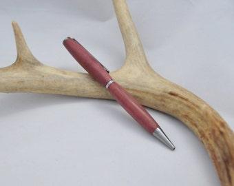 Purpleheart pen - Valentines gift for her - polished chrome -  handmade pen - woodturned slimline ballpoint pen