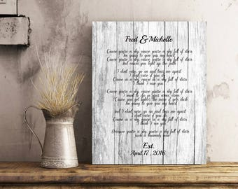 Wedding Vow Song | Rustic Art Canvas | Wedding Vow Renewal | Wedding Vows Canvas | Custom Song Art | Anniversary Gift| For Him|For Her50077C