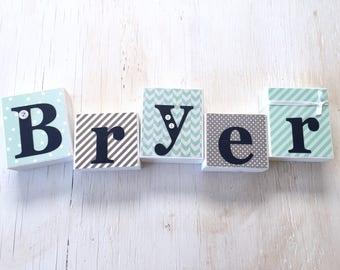 Boy's Name Blocks - Baby Boy Blocks, Nursery Room Decor - Wood Letter Blocks - Baby Boy Gift - Baby Shower Decor - Gray and Mint Green