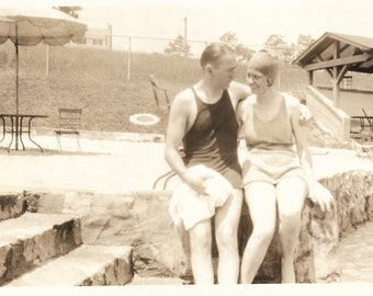 "Vintage Snapshot ""Going Swimmingly"" Happy Couple Old-Fashioned Swimsuits 1920's Found Vernacular Photo"