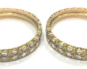 Vintage antique Handmade 20K Gold Jewelry Bangle Pair India