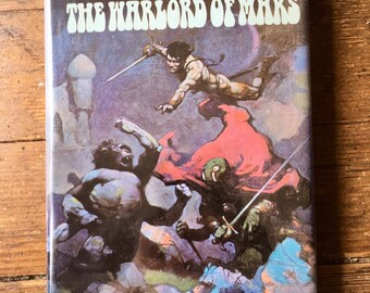 1971 The Gods of Mars, The Warlord of Mars, John Carter Hardcover Book. Edgar Rice Burroughs. Frank Frazetta Cover. Nelson Doubleday, Inc
